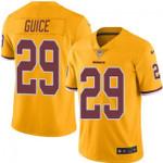 Redskins #29 Derrius Guice Gold Team Color V-neck Short-sleeve Jersey For Fans