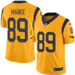 Rams #89 Tyler Higbee Gold Team Color V-neck Short-sleeve Jersey For Fans