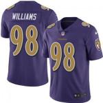 Ravens #98 Brandon Williams Purple Team Color V-neck Short-sleeve Jersey For Fans