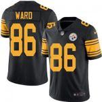 Steelers #86 Hines Ward Black Team Color V-neck Short-sleeve Jersey For Fans
