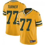 Packers #77 Billy Turner Yellow Team Color V-neck Short-sleeve Jersey For Fans