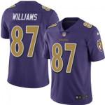 Ravens #87 Maxx Williams Purple Team Color V-neck Short-sleeve Jersey For Fans