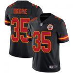 Chiefs #35 Christian Okoye Black Team Color V-neck Short-sleeve Jersey For Fans