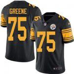 Steelers #75 Joe Greene Black Team Color V-neck Short-sleeve Jersey For Fans