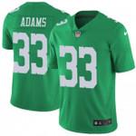 Eagles #33 Josh Adams Green Team Color V-neck Short-sleeve Jersey For Fans
