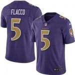 Ravens #5 Joe Flacco Purple Team Color V-neck Short-sleeve Jersey For Fans