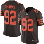 Browns #92 Chad Thomas Brown Team Color V-neck Short-sleeve Jersey For Fans