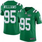 Jets #95 Quinnen Williams Green Team Color V-neck Short-sleeve Jersey For Fans
