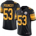 Steelers #53 Maurkice Pouncey Black Team Color V-neck Short-sleeve Jersey For Fans