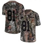 Lions #81 Calvin Johnson Camo Team Color V-neck Short-sleeve Jersey For Fans