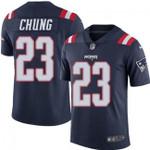 Patriots #23 Patrick Chung Navy Team Color V-neck Short-sleeve Jersey For Fans