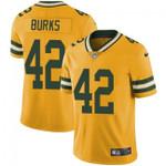Packers #42 Oren Burks Yellow Team Color V-neck Short-sleeve Jersey For Fans