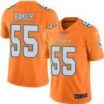 Dolphins #55 Jerome Baker Orange Team Color V-neck Short-sleeve Jersey For Fans
