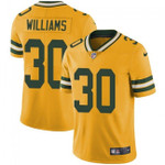 Packers #30 Jamaal Williams Yellow Team Color V-neck Short-sleeve Jersey For Fans