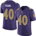 Ravens #40 Kenny Young Purple Team Color V-neck Short-sleeve Jersey For Fans
