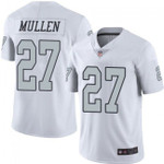 Raiders #27 Trayvon Mullen White Team Color V-neck Short-sleeve Jersey For Fans