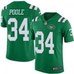 Jets #34 Brian Poole Green Team Color V-neck Short-sleeve Jersey For Fans