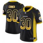 Steelers #30 James Conner Black Team Color V-neck Short-sleeve Jersey For Fans