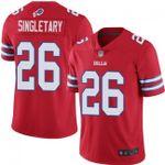 Bills #26 Devin Singletary Red Team Color V-neck Short-sleeve Jersey For Fans