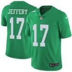 Eagles #17 Alshon Jeffery Green Team Color V-neck Short-sleeve Jersey For Fans