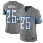 Lions #25 Will Harris Gray Team Color V-neck Short-sleeve Jersey For Fans
