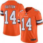 Broncos #14 Courtland Sutton Orange Team Color V-neck Short-sleeve Jersey For Fans