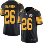 Steelers #26 Mark Barron Black Team Color V-neck Short-sleeve Jersey For Fans