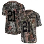 Vikings #21 Mike Hughes Camo Team Color V-neck Short-sleeve Jersey For Fans