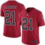 Falcons #21 Deion Sanders Red Team Color V-neck Short-sleeve Jersey For Fans
