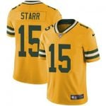 Packers #15 Bart Starr Yellow Team Color V-neck Short-sleeve Jersey For Fans