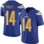 Chargers #14 Dan Fouts Electric Blue Team Color V-neck Short-sleeve Jersey For Fans