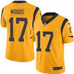 Rams #17 Robert Woods Gold Team Color V-neck Short-sleeve Jersey For Fans