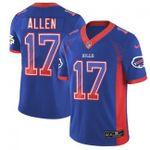 Bills #17 Josh Allen Royal Blue Team Color V-neck Short-sleeve Jersey For Fans