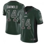 Jets #14 Sam Darnold Green Team Color V-neck Short-sleeve Jersey For Fans