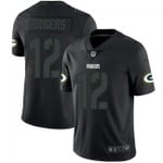 Packers #12 Aaron Rodgers Black Team Color V-neck Short-sleeve Jersey For Fans