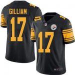 Steelers #17 Joe Gilliam Black Team Color V-neck Short-sleeve Jersey For Fans