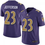 Baltimore Ravens #23 Tony Jefferson Purple Team Color V-neck Short-sleeve Jersey For Fans