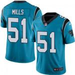 Carolina Panthers #51 Sam Mills Blue Team Color V-neck Short-sleeve Jersey For Fans