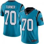 Carolina Panthers #70 Trai Turner Blue Team Color V-neck Short-sleeve Jersey For Fans
