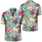 Hawaii Seamless Floral Pattern With Tropical Hibiscus, Watercolor Hawaiian Shirt