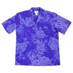 Monstera Ceres Purple Hawaiian Cotton Shirt Men Alohaz Clothing Blue 993