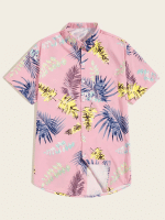 Guys Tropical Print Hawaiian Shirt