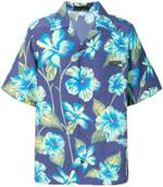 Navy Blue Floral Hawaiian Shirt
