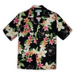 Mens Hawaiian Shirt Plumeria Celebration Black