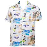 Corona Extra White Hawaiian Button Up Shirt