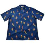 Tropical Parrots Pattern Navy Hawaiian Shirt