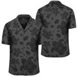 Polynesian Turtle Palm And Sea Pebbles Gray Hawaiian Shirt