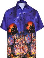 Camp Hawaiian Scary Halloween Party Costume Pumpkin Witch Shirt Royal Blue