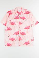 Pink Large Flamingo Print Hawaiian Shirt