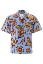 Tropical Yellow Purple Hibiscus Hawaiian Shirt